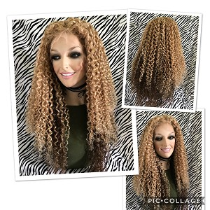 "26"" Deep Curly Lace Front Wig Color 27 Top Color 4 Bottom Medium Cap 150% Density"