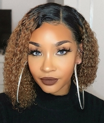 Hombre Kinky Curl Bob Lace Front Wig